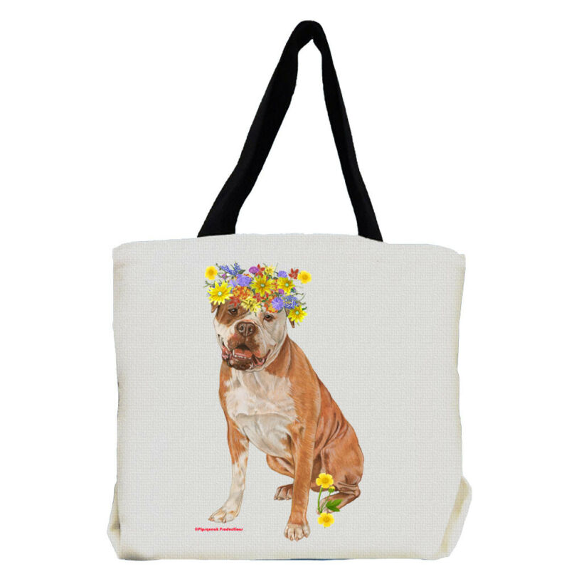 American Bulldog Dog with Flowers Tote Bag