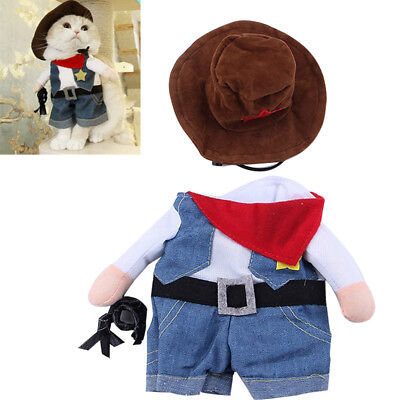 Pet Clothes Cat Dog Cosplay Cowboy Funny Costume With Hat Puppy Jean Coat