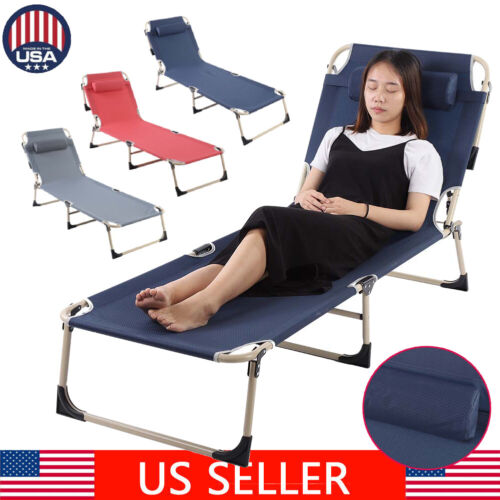 Folding Chaise Lounge Chair Patio Outdoor Pool Beach Lawn Re