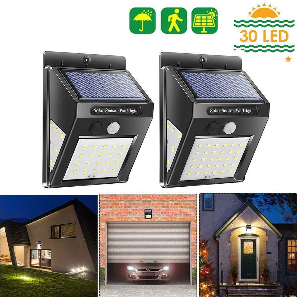 30/40/100LED Solar PIR Motion Sensor Wall Lamp Waterproof Ga