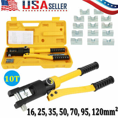 10t Hydraulic Wire Cable Battery Lug Crimper Terminal Tool W7 Dies 16-120mm