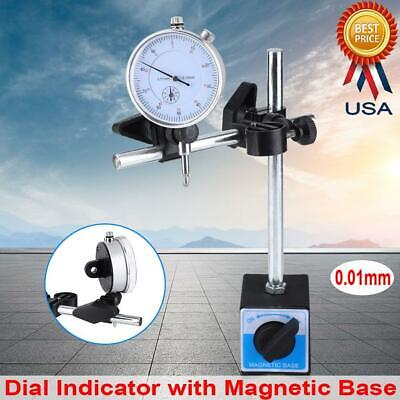 0.01mm Dial Test Indicator Tool Set With Universal Magnetic Base Holder Stand Us
