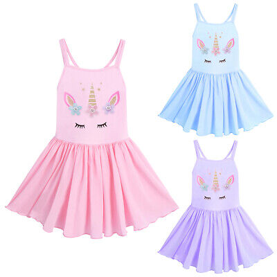 Kid Girl Unicorn Ballet Dance Tutu Dress Leotard Camisole Ballerina Costume -