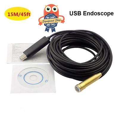 Pipe Inspection Camera HD 480P USB Endoscope Video Sewer Drain Waterproof 50 ft