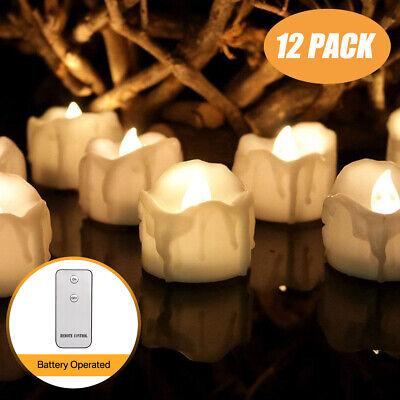 12stk. LED Teelichter mit Fernbedienung Batterien flackernd Teelicht Kerzen Set