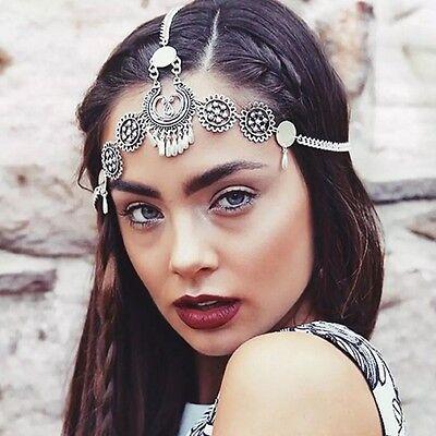 Bohemian Retro Women Drop Head Chain Jewelry Forehead Dance Headpiece Hair Band