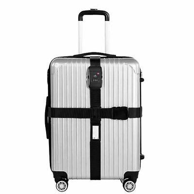 TSA Kreuz-Koffergurt Zahlenschloss Gepäckgurt Kofferriemen Schwarz Kofferband DE (Tsa Gepäckgurt)