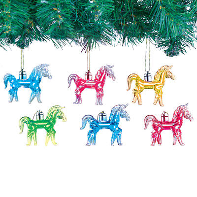 Light Up Glass Horse Ornaments Set Of 6, by Collections - Light Up Horse