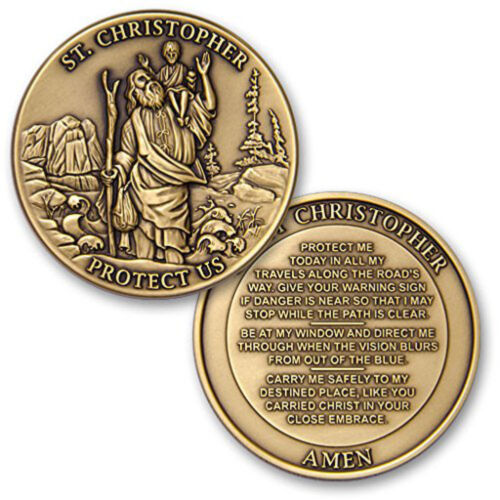 NEW St Christopher Protect Us Challenge Coin