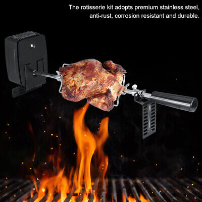 Rotisserie Kit for Barbecue Stainless Steel Spit Rod Meat Forks W/Electric Motor