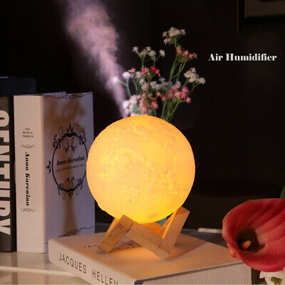 880mL Air Humidifier USB 3D Moon Lamp Aromatherapy Light Essential Oil Diffuser