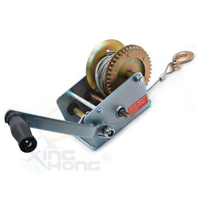 2000Lbs Dual Gear Hand Winch Towing Boat Trailer w/ 33FT Steel Cable Hand Crank