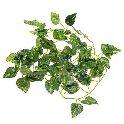 2M Artificial Vine Leaf Scindapsus Plant Garland for Reptiles Terrarium Fashion