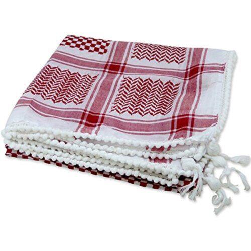 Red & White Kafiya Keffiyeh Kufiya Arafat Palestine Islamic Prayer Desert Scarf
