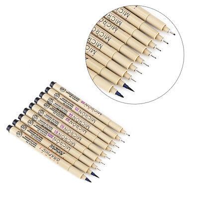 9Pcs Black Fine Liner Brush Art Drawing Set   Signature Drawing Pigment Ink Pens