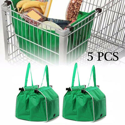 5X Reusable Shopping Grab Bags Fabric Grocery Foldable Trolley Tote Clip To Cart
