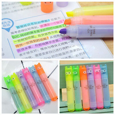 6pcs Set New Mini Fluorescent Highlighter Pen Rabbit Stationery Marker Pens