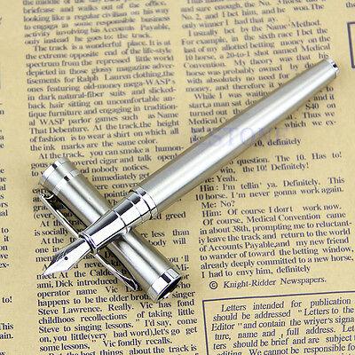New Silver BAOER 3035 Stainless Steel Metal Medium Nib Fountain Pen Nice Gift