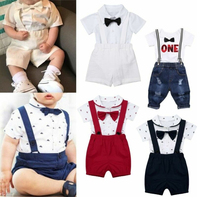 1e460574c Infant Baby Boy 2PCS Bow Tie Romper T-Shirt+Bib Pants Overalls Party ...