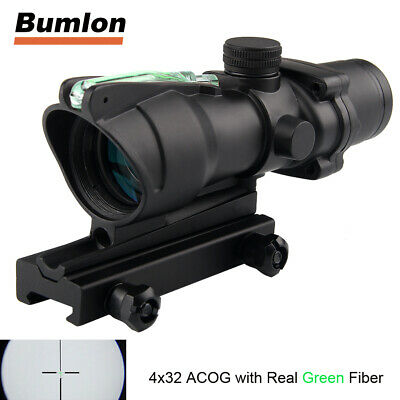 4X32 ACOG Green Fiber Chevron Reticle Optics Green Illuminated Rifle Scope