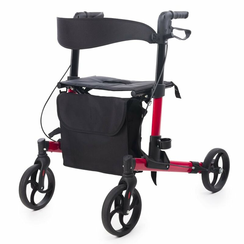 ELENKER Folding Rollator Walker Compact Rolling Walker with Seat and Bag Red USA