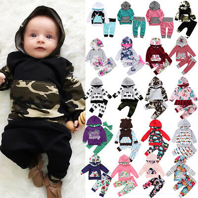 Popular Girl Outfits (Popular Kids Baby Boys Girls Floral Camo Hooded Hoodie Outfits Set Clothes)