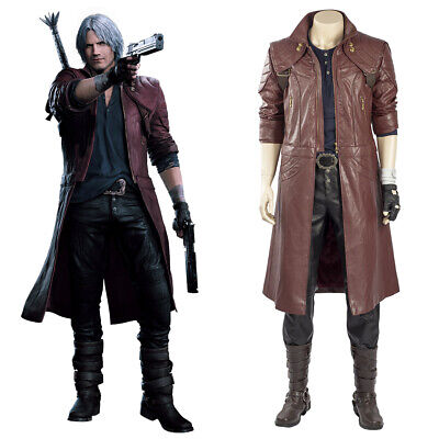 DmC Devil May Cry V Dante Cosplay Costume Tony Redgrave Outfit Leather Coat Only - Dmc Costumes