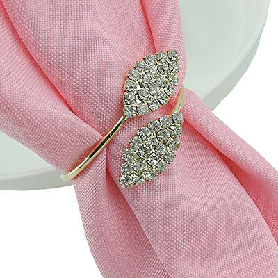 12Pcs Rhinestone Napkin Rings Handmade Serviette Buckle Holder Wedding Dinner (Wholesale Napkin Rings)