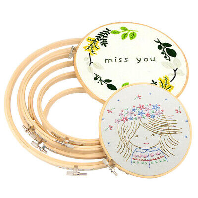 Embroidery Hoops Frame Set Bamboo Wooden Hoop Rings Home DIY