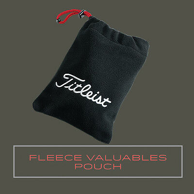 New Titleist Fleece Valuables Pouch Bag - Black with Red Accent - Travel Gear