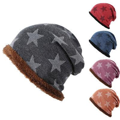 Winter Fleece Lined Star Pattern Beanie Cap Men Women Elastic Baggy Hat Rapture