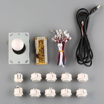 New Arcade DIY Kits Parts USB Encoder To PC China Sanwa Joystick + White Buttons