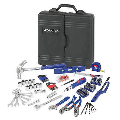 WORKPRO 201PC Handtool Set Bits Ratchet Sockets Pliers Repairing Tool Kit Case