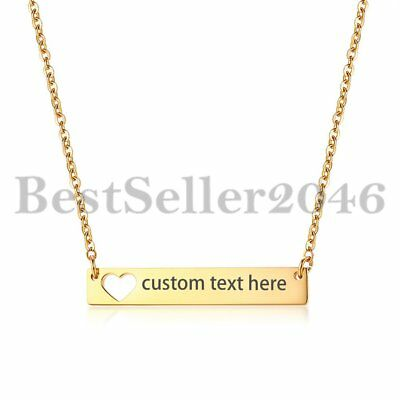Women Horizontal Bar Name Adjustable Stainless Steel Necklace Custom Engraved - Women Customes