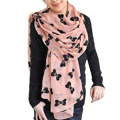 Pink Women's Large Soft Scarf Wrap Shawl Chiffon Bowknot Scarves YM