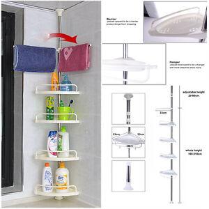 Space-Saving 4 Tier Telescopic Bathroom Corner Shelf Rack Shower Caddy Storage