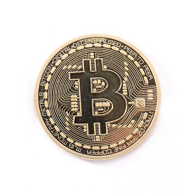 Gold Plated Physical Bitcoins Casascius Bit Coin BTC w/ Case Gift Art Collection