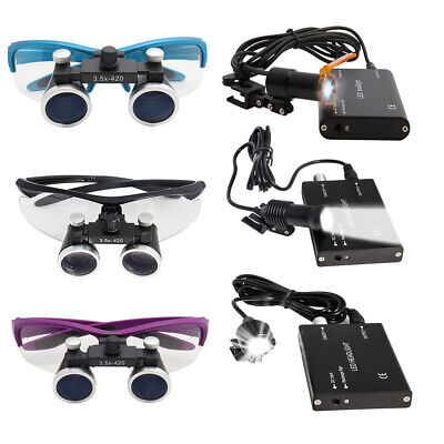 2.5x3.5x Binocular Dental Loupes 5w3w Led Head Light Medical Surgical Glasses