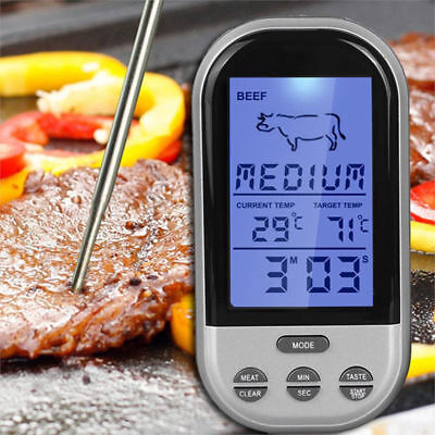 Digital Wireless Barbecue BBQ Meat Thermometer Remote Grill Cooking Kit