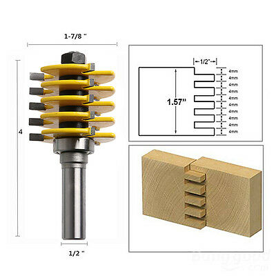 5 Blade 3 Flute 12 Shank Box Joint Router Bit Adjustable Woodworking Cutter