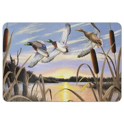 Mallard Ducks Flying Over Pond Lake Painting Home Business Office Sign