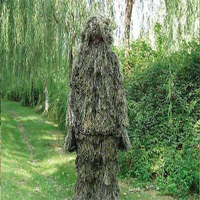 Ghillie Suit XL/XXL Camo Woodland Camouflage Forest Hunting 4-Piece + Bag US fga