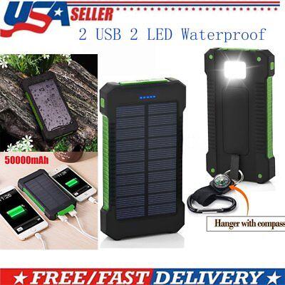 Solar Active Power Bank 20000mAh Portable Phone Charger External Backup Battery