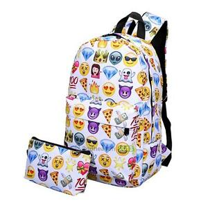 New 2Pcs Fashion Emoji Smile Print Backpack Travel School Bag for women girl