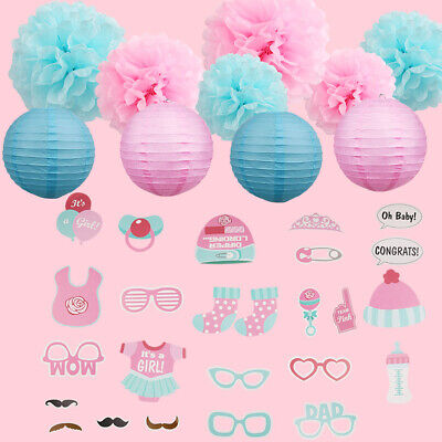 Baby Shower Decorations For Girl Party Photo Booth Props Tissue Pom Poms Lantern
