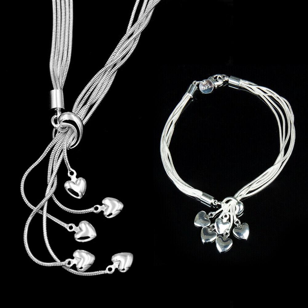 Jewellery - Women Jewellery Gift 925 Sterling Silver Heart Pendant Necklace Chain Bracelets