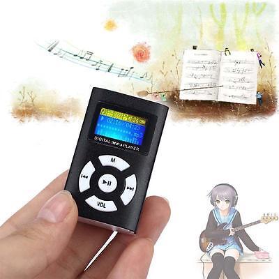 MP3 Stereo Music Player Digital LCD Screen Mini Clip Support 32GB Micro SD Black