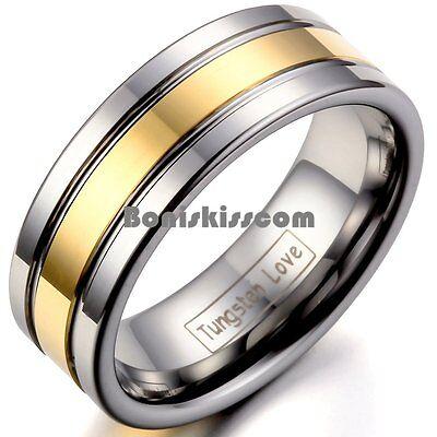 Men's 8mm Silver Tungsten Carbide Ring Gold Tone Stripe Center Wedding - Gold Chevron