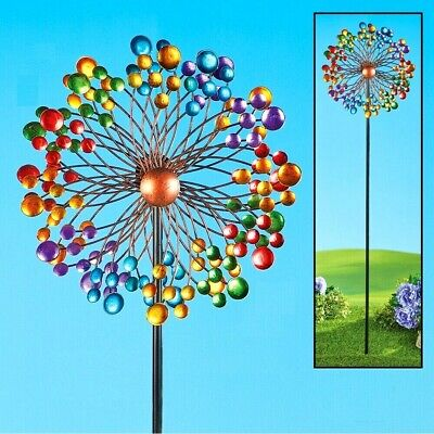 - 5 Ft. Tall Colorful Circles Double Sided Rainbow Spinner Yard Garden Metal Stake