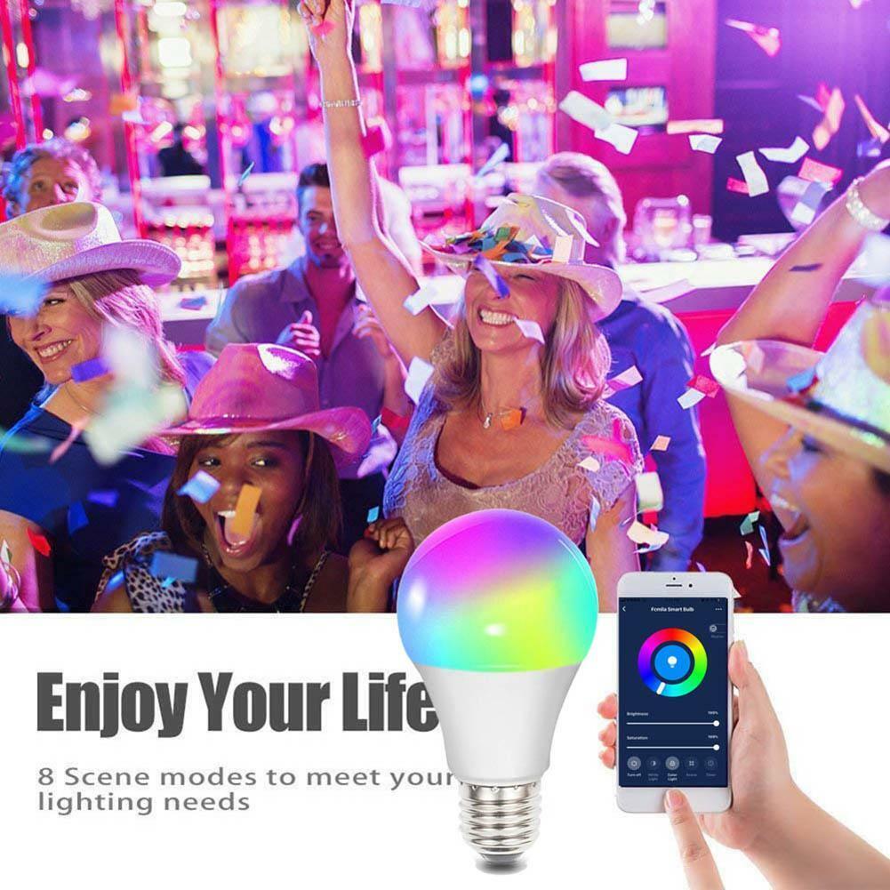 WiFi Smart RGB Light Bulb Bulbs Dimmable LED E27 Lamp Work W